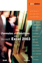 Formulas and Functions with Microsoft Excel 2003 by Paul McFedries