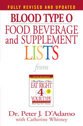Blood Type O Food, Beverage and Supplement Lists by Peter J. D'Adamo